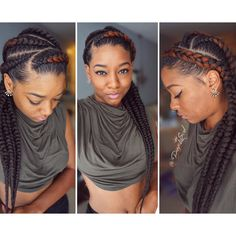 Feed in Cherokee braids corn rows protective style by Bee Flawless salon. See…