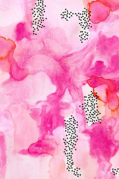 hand-painted watercolor abstract // pink + coral by ivieclothco - Hanpainted watercolor in pink, peach, and orange, with black spots on wallpaper, fabric, and gift wrap.