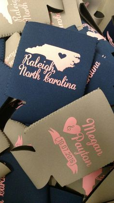 We all love our states!! www.kustomkoozies.com Use discount code Pinterest for 15% off. #wedding #favor #kustom #koozies #raleigh #nc