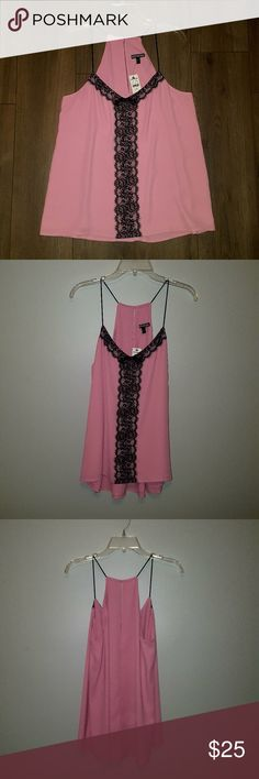 Express Pink and Black Lace Tank Top Sz L Flirty Pink and black lace tank top from Express. Back has a key hole slit at the top. Never worn. Double layer of fabric, (see last photo) so it is not see through. Smoke free/pet free home. Measurements to come.   No trades. Express Tops Tank Tops