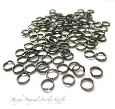 6mm Split Rings, Gunmetal Gray Oxidized Silver Metal Findings, Dark Grey Double Loop Jump Rings, Jewelry Making Craft Supply 60 Pieces SP740 by RoughMagicalSupplies on Etsy