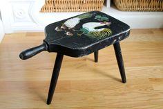Vintage Folk Art Chickens Stool by tippleandsnack
