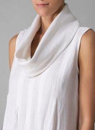 Linen Sleeveless Cowl Neck Long Dress White