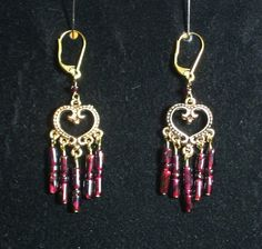 Garnet Heart Earrings by ShamamasTreasures on Etsy