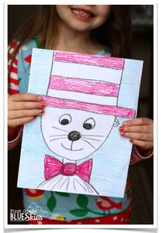 Cat in the Hat directed drawing for reading writing celebration week. Dr Seuss Week first grade and kindergarten ideas with video and freebie Dr Seuss Art, Dr Seuss Crafts, Dr Seuss Week, Dr Suess, Kids Crafts, Drawing Lessons, Art Lessons, Library Lessons, Birthday Drawing