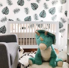 dinosaur nursery Totally digging the natural colors and overall vibe of this nursery. And that Costco Dino? Yep, we will take all of that, too. (Design by Nursery Themes, Nursery Room, Girl Nursery, Nursery Decor, Nursery Ideas, Room Ideas, Bedroom, Baby Boy Rooms, Baby Boy Nurseries