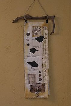 Sandpiper Quilted Wall Hanging Shabby Chic Costal Beach Art with Driftwood Hanger Fiber Art