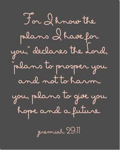 Jeremiah 29:11 (RSVCE) For I know the plans I have for you, says the Lord, plans for welfare and not for evil, to give you a future and a hope.