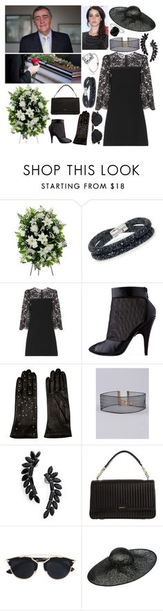 """""""Attending the private funeral held for the 6th Duke of Westminster"""" by duchessofdorset ❤ liked on Polyvore featuring Swarovski, Dolce&Gabbana, 3.1 Phillip Lim, AGNELLE, Armitage Avenue, Cristabelle, DKNY, Christian Dior, Kane and Biba"""