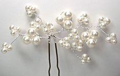 Swarovski Pearl Hair Pins Swarovski Trailing by Makewithlovecrafts