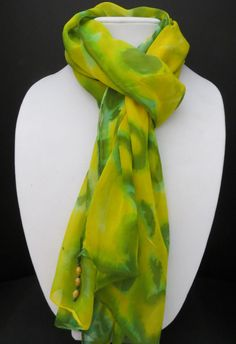Chiffon (silk) scarf - green & yellow w/ turquoise accents