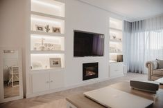 Built In Shelves Living Room, Feature Wall Living Room, Living Room Wall Units, Open Plan Kitchen Living Room, Home Living Room, Living Room Designs, Tv Wall With Shelves, Built In Tv Wall Unit, Built In Around Fireplace