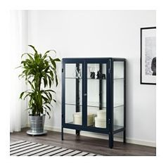 "IKEA ""FABRIKÖR"" Glass-Door Display Cabinet in Blue, $170 --- New for Fall/Winter 2017. Product dimensions 31 and 7/8 inches wide by 44 and 1/2 inches tall. Also available in a gray color option."