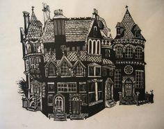 Znalezione obrazy dla zapytania linocut buildings