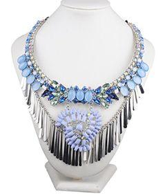 SWEETIME Women's Fashion Retro Bead Flower Metal Tassel Bib Statement Necklace - Brought to you by Avarsha.com