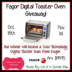 ENDS IN FEW HOURS! JOIN NOW! Win a Dual Technology Digital Toaster Oven! #giveaways