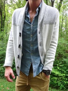 cotton shawl cardigan, chambray button-down shirt & corduroys for a relaxed and casual fall look // menswear style + fashion