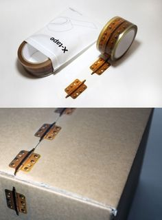 packaging tape that looks like hinges - how freaking clever and cute is this!