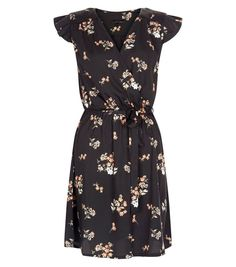 Black Floral Print Wrap Front Frill Sleeve Dress  | New Look