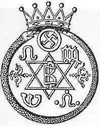 Original symbol of Theosophy. Notice the swastica also used by the Nazi party.  Adolph Hitler read the book Secret Doctrine written by the founder of Theosophy, Helen Blavatsky.