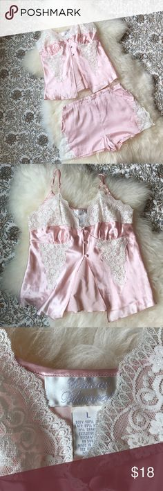 Willow Blossom chemise nightie set 100% Silk Lg Willow Blossom chemise nightie set 100% Silk Lg Light pink with white lace Vintage  Only FLAW is on the shorts small holes near the hem, see last pic for details! #53 Willow Blossom Intimates & Sleepwear Chemises & Slips