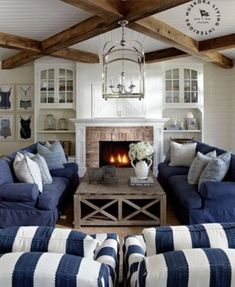 Mesmerizing Nantucket-inspired coastal cottage on Lake RosseauYou can find Nantucket and more on our website.Mesmerizing Nantucket-inspired coastal cottage on Lake Rosseau Cottage Living Rooms, Cottage Interiors, Living Room Decor, Cottage House, Bedroom Decor, Decor Room, Bedroom Ideas, Family Room Design, Dining Room Design