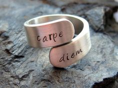 Silver ring with text