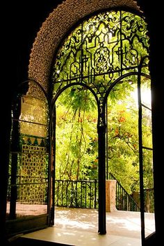 Moorish Garden by ferryvn - The wide open doors of the Moorish Garden at the Reales Alcazares in Sevilla (Spain) invite you for a revitalizing visit. *Unesco World Heritrage, Sevilla, Andalucia, Spain. Portal, Spain And Portugal, Garden Gates, Garden Entrance, Garden Doors, Art And Architecture, Amazing Architecture, The Places Youll Go, Beautiful Places