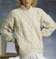 Vintage Knitting Pattern Instructions for a Ladies Chunky Jumper with Cables