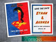 Madness and Mayhem superhero wedding Invitations or save the date custom designs.