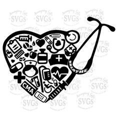 SVG - CMA Stethoscope Heart - DXF - Certified Medical Assistant - Medical Assistant - Word Art - Collage - Medical - Stethoscope - Cut File