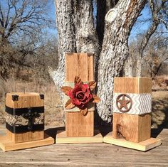 Handcrafted Wood Candleholder with Embellishment