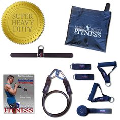 Mind Body Fitness Resistance Band Accessory Kit / Expansion Pack - 9pc Home Gym (Heavy Duty Black Band w/ Premium Clips, Exercise Bar, Handles, Ankle Straps, Door Anchor, Carry Bag   FREE eBook) ^^ You will love this! More info here : Weight loss Accessories