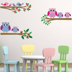 Owls And Birds Branch Wall Stickers