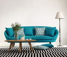 Blue turquoise fresh style, romantic interior living room