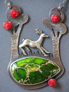 Forest Stag Necklace by dolldisasterdesign on Etsy