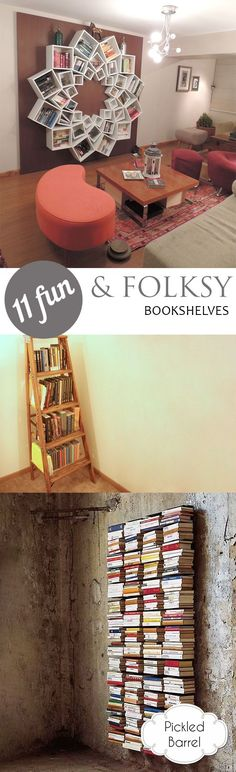 11 Fun and Folksy Bookshelves. Bookshelves, DIY Bookshelves. DIY Home, Bookshelf Ideas, How to Store Books, How to Display Books, Bookcase Displays, Rustic Home Decor