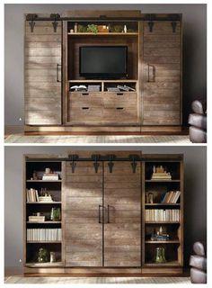Barn doors в мебели для гостиной.