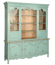 Forceful Shabby Chic French Glass Armoire/cabinet Armoires/wardrobes Antiques
