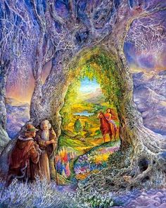 """Portal to Paradise par Josephine Wall Josephine Wall, High Resolution Wallpapers, Tree Wall, Pictures To Paint, Wicca, Amazing Art, Fantasy Art, Fantasy Images, Wall Art"