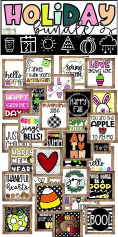 Decorating your classroom for the holidays has never been so EASY! This bundle covers all of the major holidays and will compliment any farmhouse themed classroom and will also work perfectly with any other decor. Perfect for your bulletin board, classroom walls, classroom door, and even your virtual teaching classroom! Includes 9 farmhouse posters for each holiday (90 total) Preschool Classroom Decor, Diy Classroom Decorations, High School Classroom, Classroom Walls, Classroom Posters, Preschool Learning, Kindergarten Classroom, Classroom Themes, Preschool Crafts