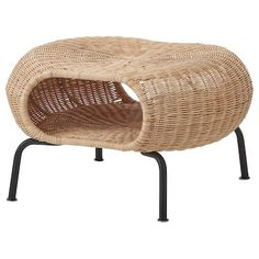 GAMLEHULT Footstool with storage, rattan, anthracite. Made of hand-woven rattan, a living material that makes each footstool unique. You can also use it as extra seating or hidden storage under the seat. A great way to invite nature into your home. Rattan Ottoman, Ikea Armchair, Rattan Furniture, Handmade Furniture, Living Furniture, Ottomans, Ikea Alseda, Design Tradicional, Windows