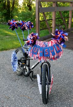 Kids will go crazy decking their bikes out for the 4th of July. Free Printable USA Banner