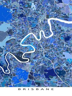 A Brisbane map art print featuring the city of Brisbane, Australia. This Brisbane city map has a modern, abstract art design made from lots of little blue shapes. Each shape is actually a city block or a piece of land - and these shapes combine like a puzzle or mosaic to form this Brisbane art print. #brisbane #australia #map #blue
