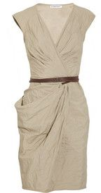 KAUFMANFRANCO  Belted crinkled cotton-blend dress - another great Tan work dress w a bit of hip draping!