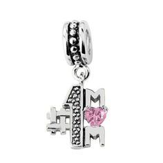 """Jovana Sterling Silver """"No.1 Mom"""" Dangle Bead Charm , Fits Pandora Bracelet. Solid 925 Sterling Silver. Self design, very well handcrafted."""