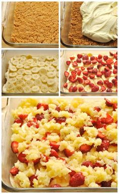 This no bake banana split dessert is easy to make and so delicious! It will be the hit of your dinner party! Aka no bake banana split cake Dessert Simple, Dessert Banana Split, Banana Split Cake Recipe, 13 Desserts, Baked Banana, Banana Recipes, Poke Cake Recipes, Pudding Recipes, Chocolate Chip Muffins