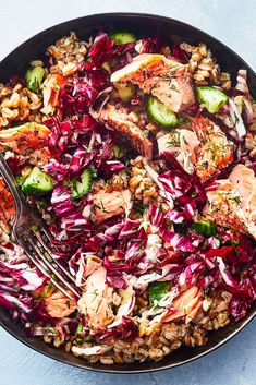 NYT Cooking: Salmon with farro. The fish and chewy grains topped with a refreshing lemony salad of cucumbers and radicchio. It's also good room temperature or cold. May substitute red cabbage or fennel for Radicchio Dill Recipes, Salmon Recipes, Seafood Recipes, Cooking Recipes, Farro Salad, Fish And Seafood, Seafood Diet, The Fresh, Cooking Salmon