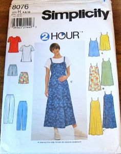 Simplicity Easy 2 Hour Sewing Pattern 8076, Maternity Jumper Dress, Sundress, Knit Tee Top, Shorts, Pants, Womens Misses Size 6 8 10, Bust 30 31 32, Uncut Factory Folds, by RosesPatternsEtc on Etsy