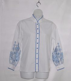 bc5a54b0 Bob Mackie Embroidered Sleeve Shirt Size M White | Clothing, Shoes &  Accessories,